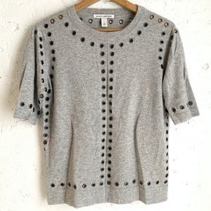 Autumn Cashmere gray sweater with gunmetal holes